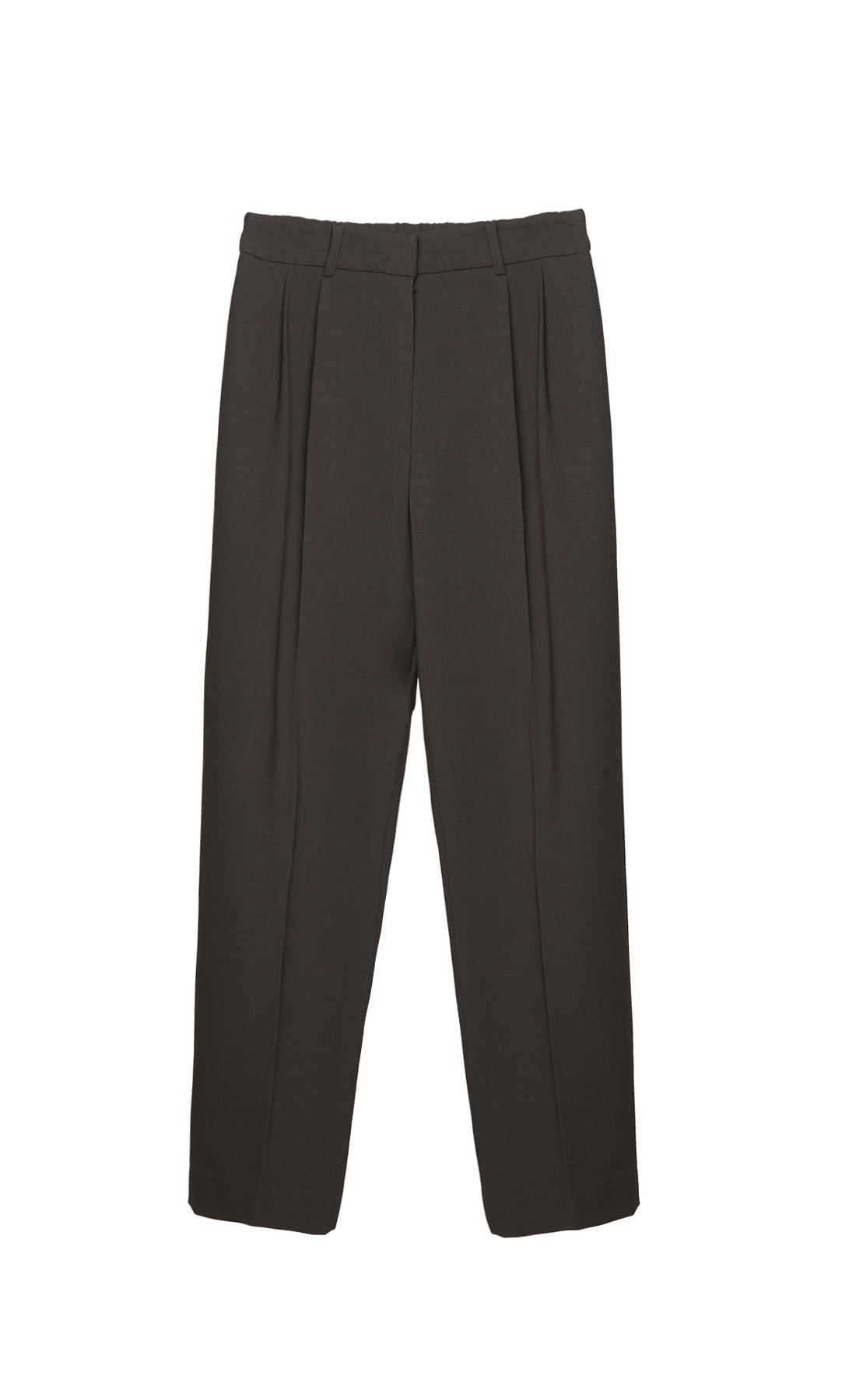 BACK BANDING TWO-TUCK WOOL PANTS
