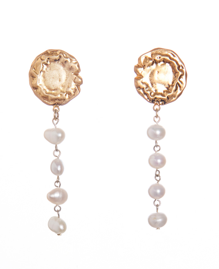 14K LIQUID GOLD PEARL EARRINGS