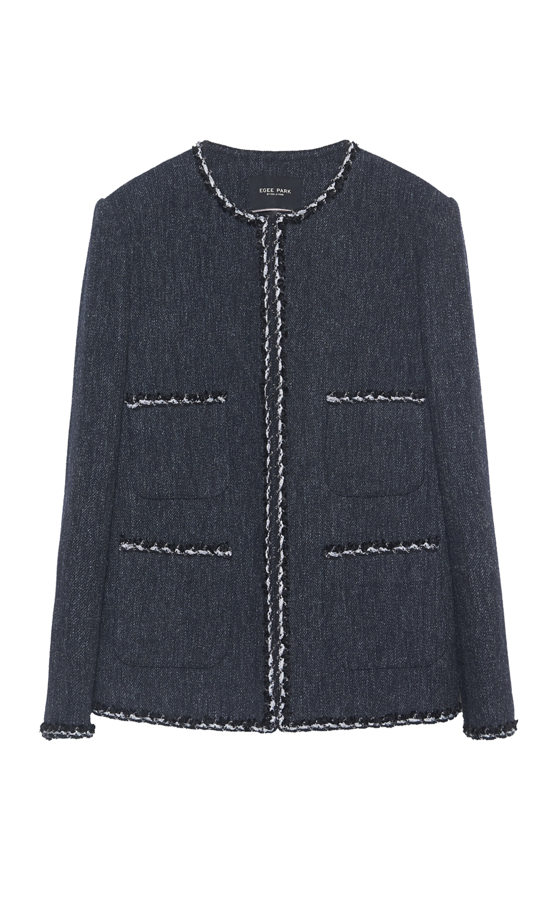 WOOL BLENDED ROUND NECK JACKET