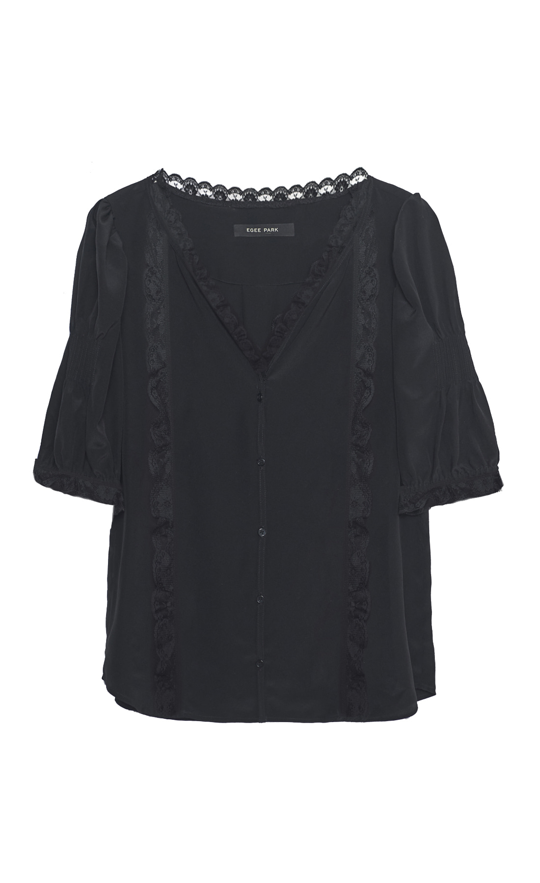 PUFF LACE TRIM SILK TOP